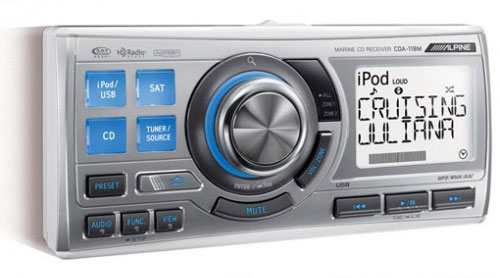 Alpine CDA-118M iPod CD USB 3x Pre Outs Marine Media Receiver, IPX5 water  resisant, 1 8 Din, ipod ready, plays CD's